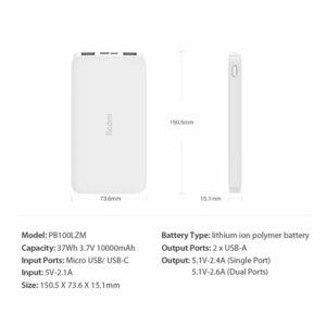 Xiaomi Redmi Power Bank PB100LZM 10000mAh 7